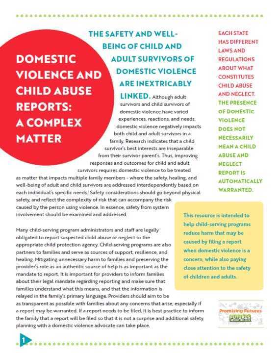 Thumbnail of Futures Without Violence resource Domestic Violence and Child Abuse Reports: A Complex Matter